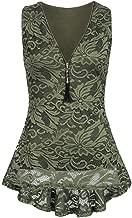 UONQD Women Tank Top Floral Lace Zip Up Casual Sleeveless Slim Vest Pure T Shirts Asymmetrical Hem