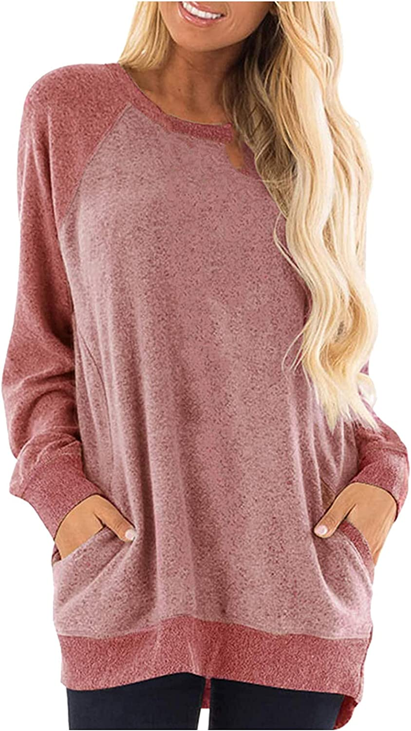 VonVonCo Pullover Sweaters for Women Round Neck Loose Fit Color Splice Pocket Long Sleeve Sweatshirt Casual T-Shirt