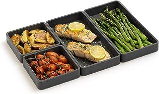 مجموعه تقلب های ورق مدولار جداکننده تابه   ظروف مخصوص پخت ، سیلیکون نچسب (ست 4 تکه ، زغال چوب)