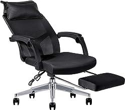ESNBIA オフィスチェア 170度 リクライニング デスクチェア オットマン付き ハイバック メッシュ コンパクト 可動式アームレスト パソコン 椅子 腰サポート クッション 360度回転 可動式枕 日本語説明書が付き (ブラック)