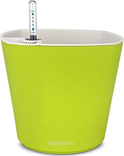 "Aquaphoric Self Watering Planter (7"") + Fiber Soil = Foolproof Indoor Garden. Decorative Planter Pot for House Plants, Flowers, Herbs, Violets, Succulents. Easy Looks Great. (Chartreuse Matte)"
