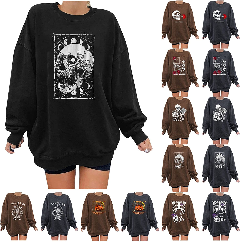 Fudule Halloween Shirts for Women Casual Crewneck Sweatshirts Skeleton Graphic Costume Casual Fleece Oversized Pullover