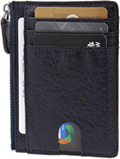 AslabCrew Minimalist Genuine Leather Zipper RFID Blocking Front Pocket Wallet, Slim Card Wallets