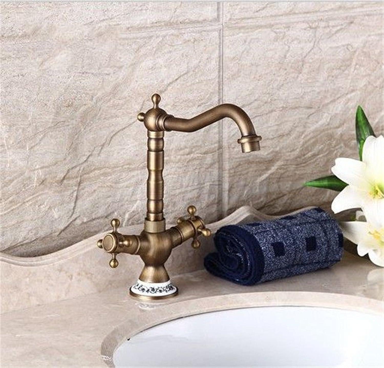 Moderne einfache kupferne heie und kalte Wasserhhne Küchenarmatur Antike Beckenwasserhahn heies und kaltes Wasser Doppelwaschbecken Einlochmontage sitzenden blauen und weien Porzellan Drehhahn