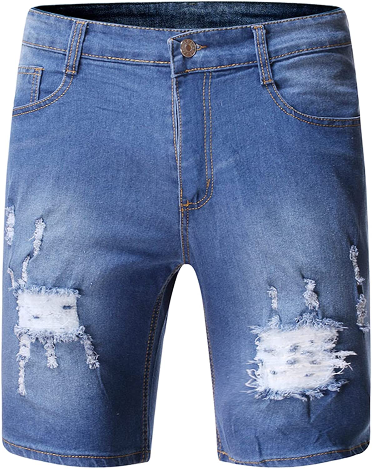 Men's Casual Rolled Ripped Jean Shorts Distressed Washed Denim Short-Pant Straight Fit Jeans Short with Broken Hole