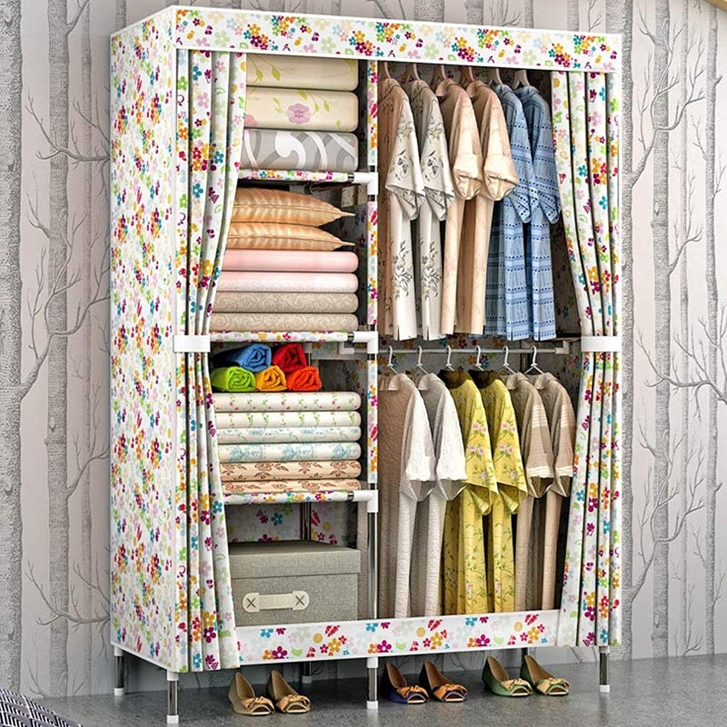 Yalztc-zyq16 Oxford Cloth Steel Pipe Thickening Simple Wardrobe Storage Cloths Wardrobes Assembly Folded Adult (color    7) (color   E)