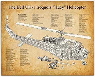 Bell Huey Helicopter - 11x14 Unframed Patent Print - Great Room Decor or Gift Under $15 for Pilots