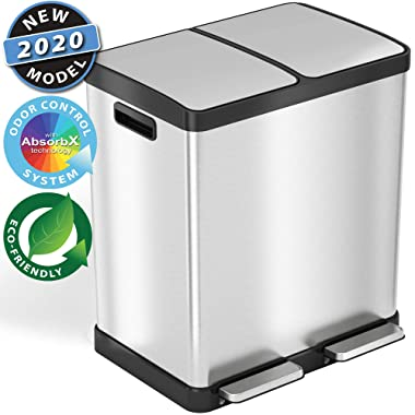 iTouchless SoftStep 16 Gallon Step Trash Can & Recycle Bin with Activated Carbon Filters System, Stainless Steel, 2 x 8 Gallon (30L) Removable Color-Coded Buckets, Soft Close and Airtight Seal