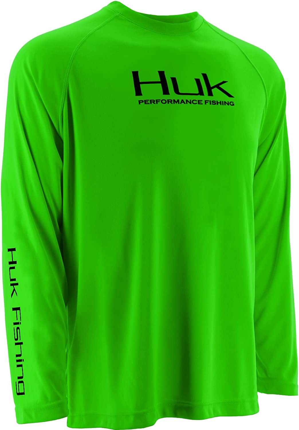 HUK H7000004NGNYS Huk Youth Performance Raglan Long Sleeve Jacket, Neon Green, Small