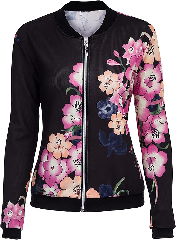 Women's Long Sleeve Floral Print Classic Baseball Bomber Jacket Fall Biker Bomber Outwear Zip Short Slim Coat