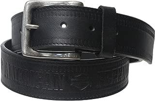 Harley-Davidson Mens Money Hidden Zipper Pocket Black Leather Belt