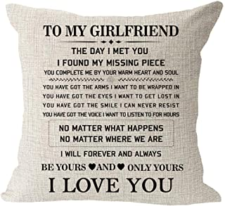 """Blessing to My Girlfriend Be Yours and Only Yours I Love You Valentine's Day Birthday Gift Cotton Linen Square Throw Waist Pillow Case Decorative Cushion Cover Pillowcase Sofa 18""""x 18"""""""