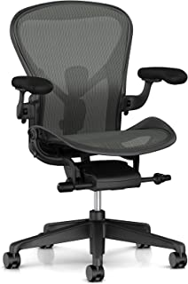 Herman Miller Aeron Ergonomic Office Chair with Tilt Limiter | Adjustable PostureFit SL and Arms | Small Size A with Graphite Finish