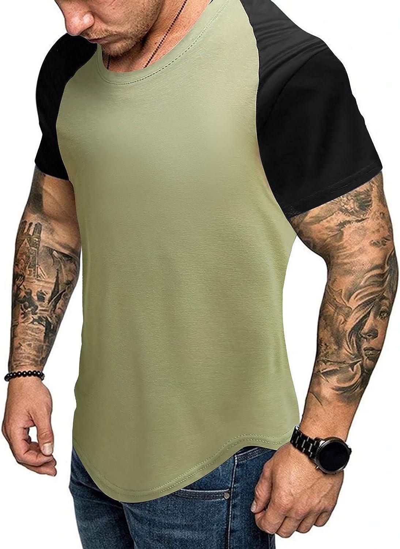 FUNEY Men's Muscle T-Shirt Pleated Raglan Sleeve Bodybuilding Gym Tee Tops Short Sleeve Fashion Workout Shirts Hipster Shirt