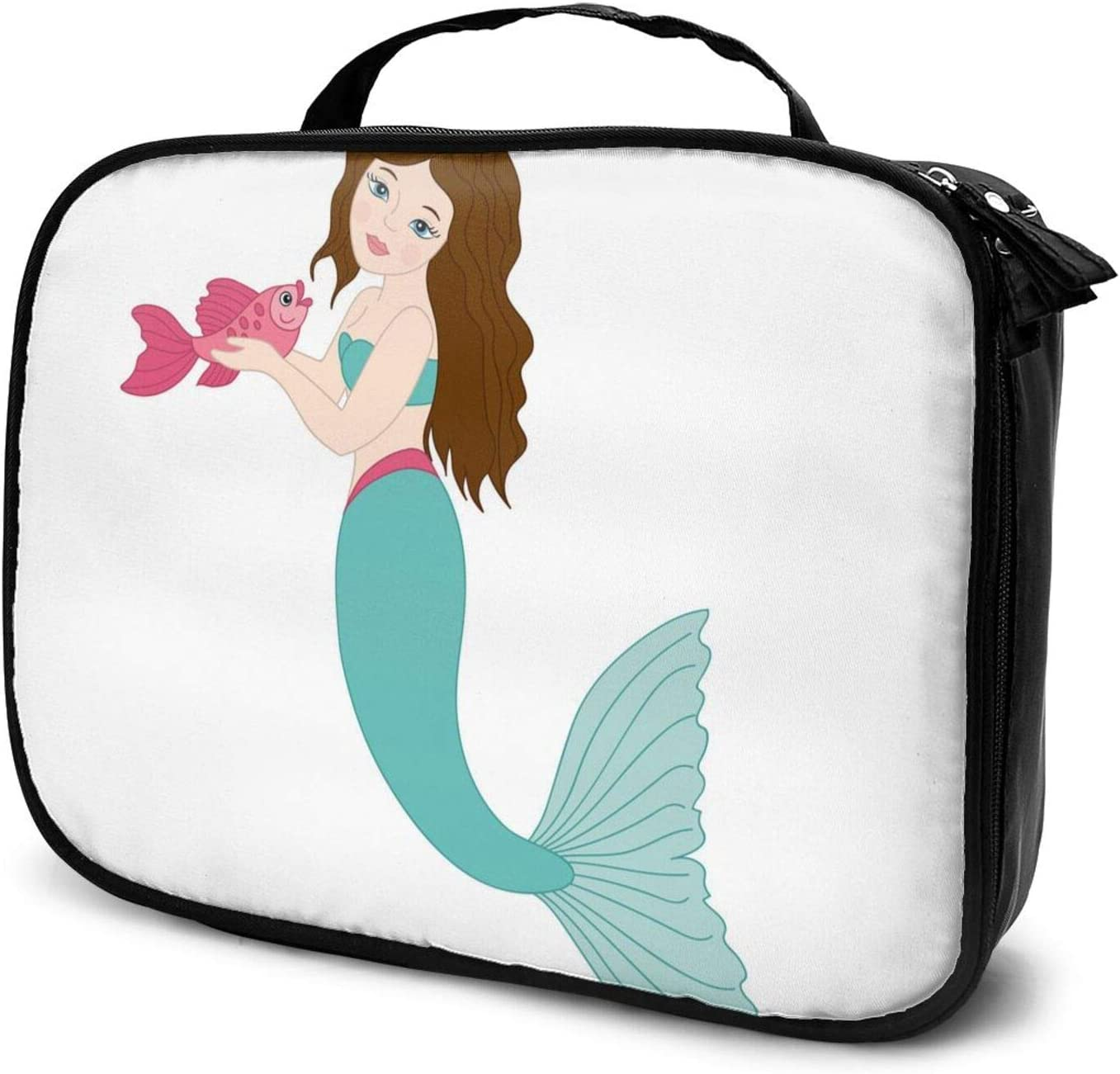 Beautiful Mermaid New mail order Discount mail order Travel Makeup Case Train Cosmetic