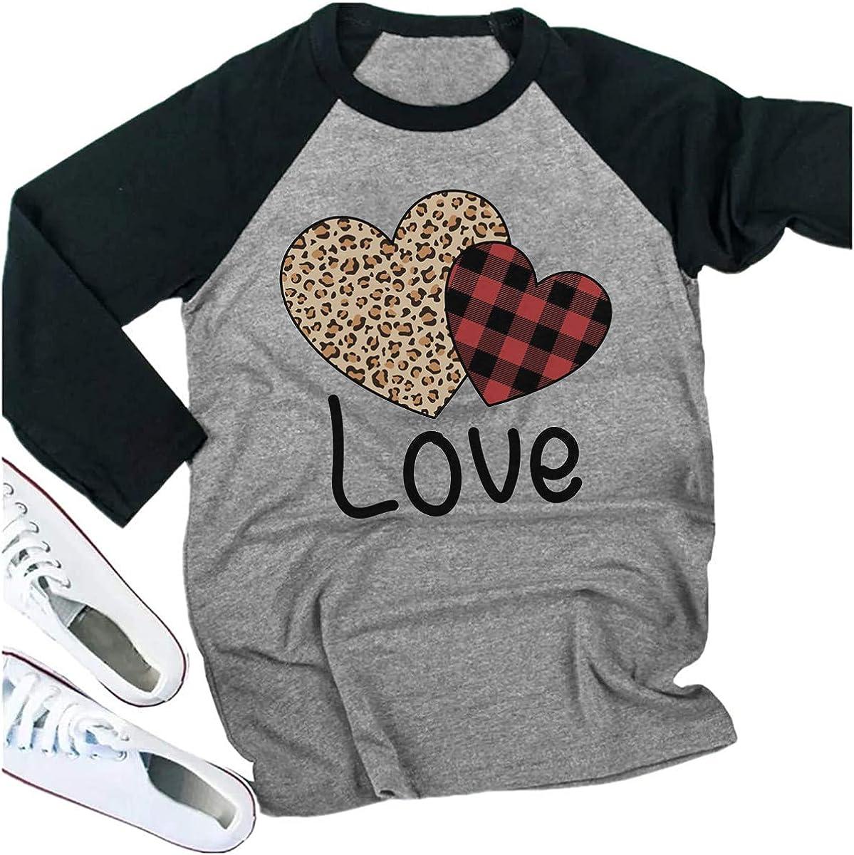 Valentines Day Shirts for Women Love Heart Tshirt 3//4 Raglan Sleeve Valentine Tops Clothes