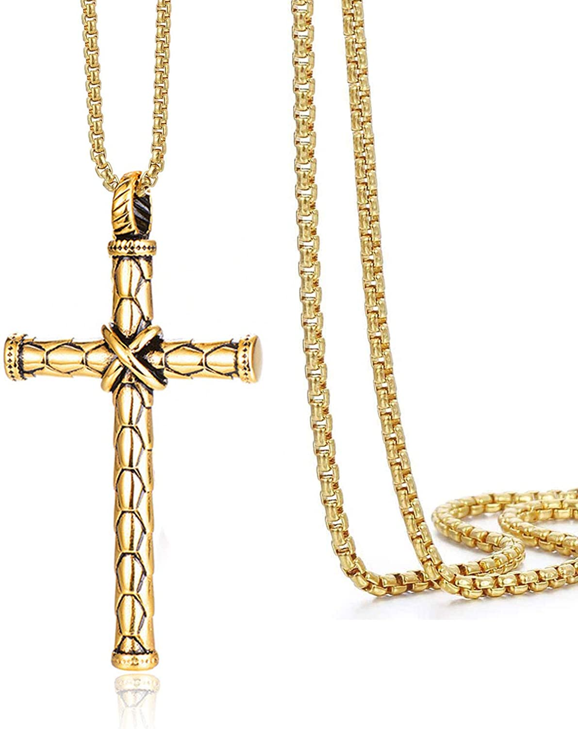 Zimojie Plain Faith Cross Pendant Necklace for Men,Stainless Steel Cross Pendant Necklaces Chain 24 Inches Box Chain,Gift for Mom Dad