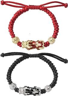 2 pezzi Feng Shui Pixiu braccialetti di corda intrecciati fatti a mano regolabili set braccialetto di ricchezza fortunato ...