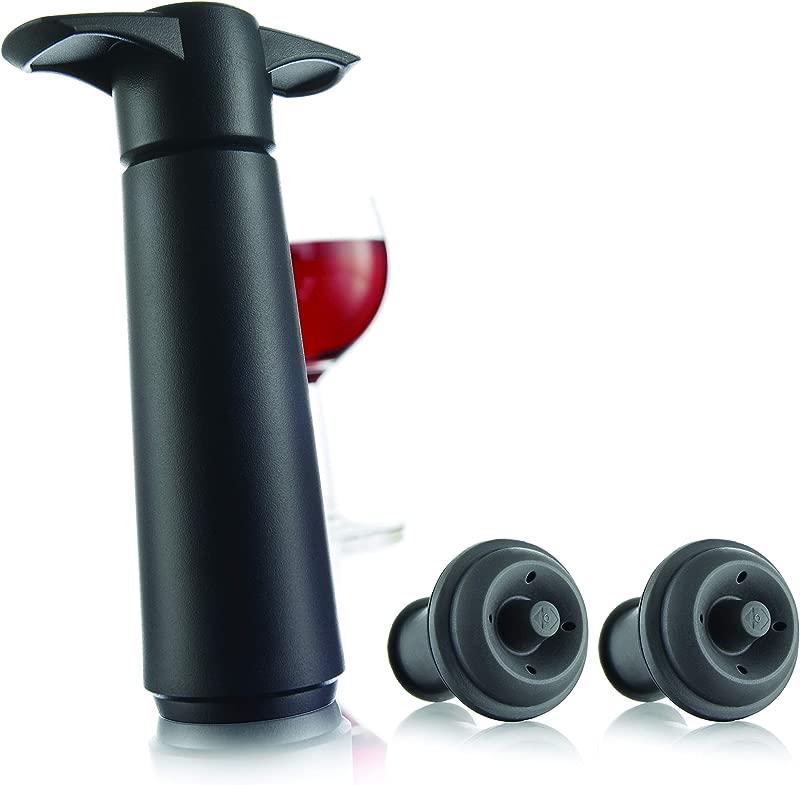 The Original Vacu Vin Wine Saver With 2 Vacuum Stoppers Black