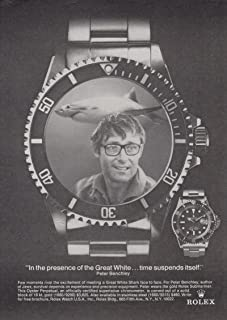 Jaws author Peter Benchley for Rolex Wristwatches ad 1975 NY