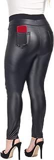 Women's High Waisted Faux Leather Leggings & Mesh Sport Yoga Leggings for Causal