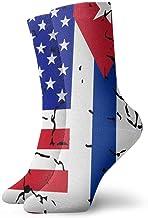 Adult USA Cuba Flag Athletic Crew Socks