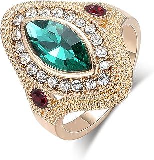 خاتم Speverdr Vintage KC ذهبي مشرق كريستال الماس الدائري للرجال والنساء خواتم كبيرة