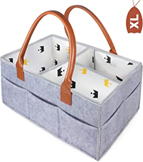 Baby Diaper Caddy-Storage Bin for Baby Essentials for Newborn Storage Bag Portable Lightly Multifunction Changeable Compartments Nappy Bags for Baby Grey