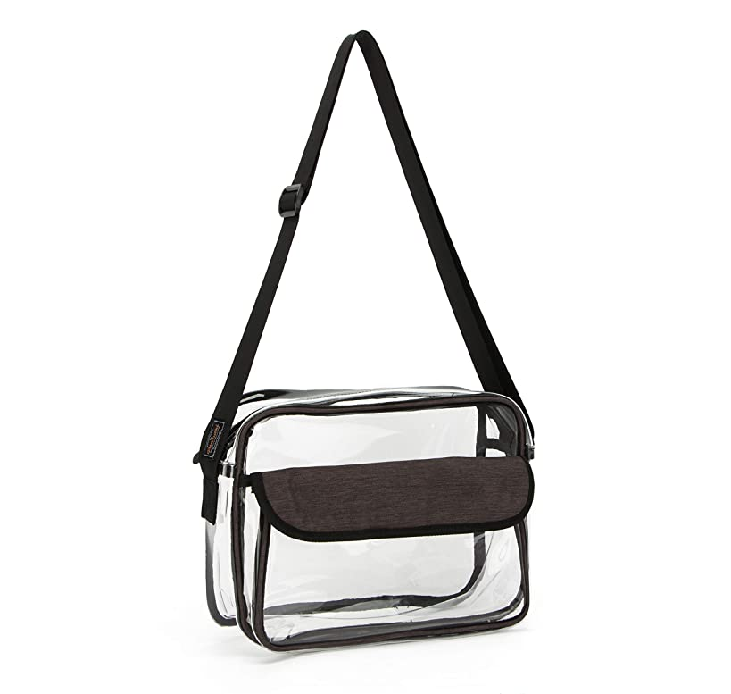 PACMAXI Clear Messenger Bag for Women Men - Large Clear Crossbody Bag Transparent Purse for Work, School, Travel, Beach, Gym, Stadium Events