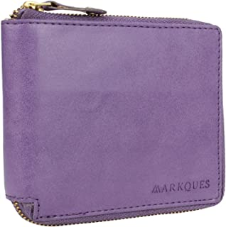 Markques Leather Zipper Wallet Purse For Women And Girls (Anna-4410) (Purple)