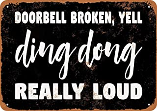 Ohuu 8×12 Doorbell Broken Yell Ding Dong Metal Wall Sign Retro Plaque Poster Vintage Iron Sheet Painting Decoration Hanging Artwork Crafts Cafe Beer Bar