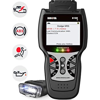 INNOVA 6100P SRS ABS OBD2 Scanner Car Code Reader Diagnostic Tool with Battery Alternator Test Service Light Reset Car Health Monitor with Free Pouch