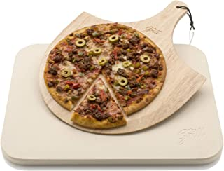 Hans Grill Pizza Stone Baking Stone for Pizzas use in Oven and Grill/BBQ Free Wooden Pizza Peel Rectangular Board 15 x 12 Inches Easy Handle Baking | Bake Grill, for Pies, Pastry Bread, Calzone