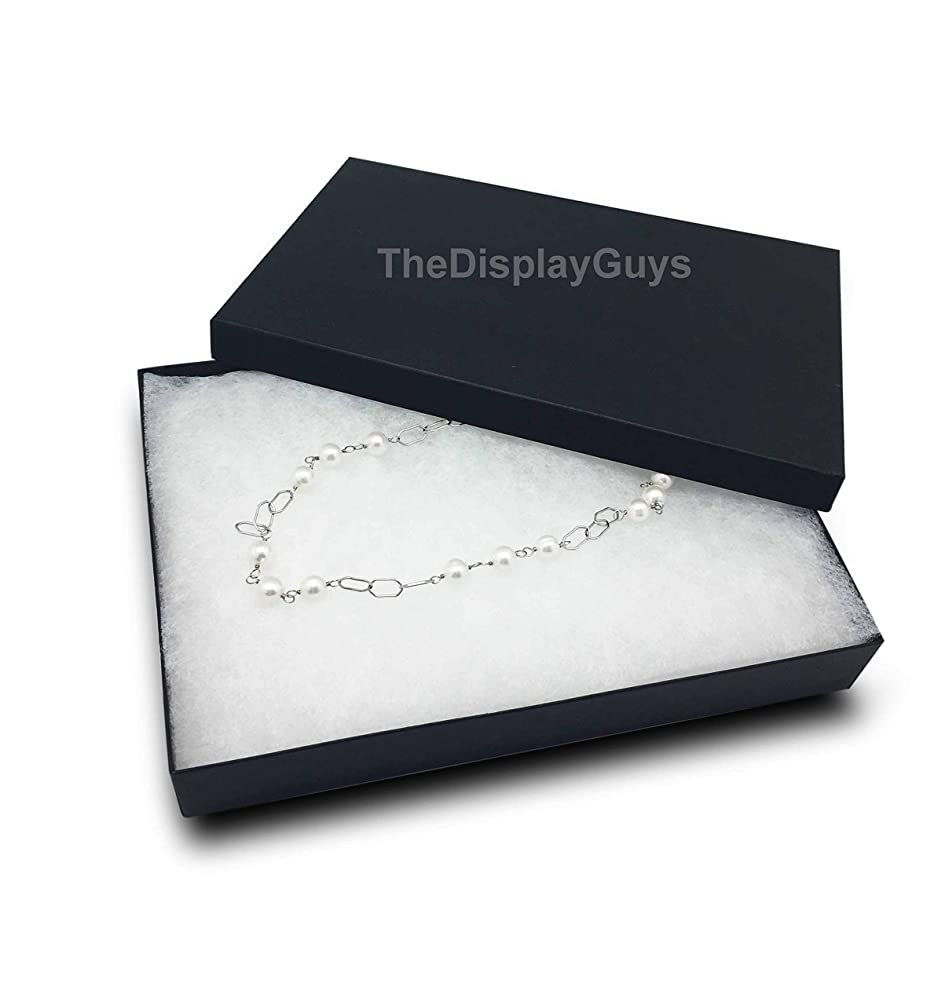 The Display Guys Pack of 25 Cotton Filled Cardboard Paper Black Jewelry Box Gift Case (5 3/8x3 7/8x1 inches #53)