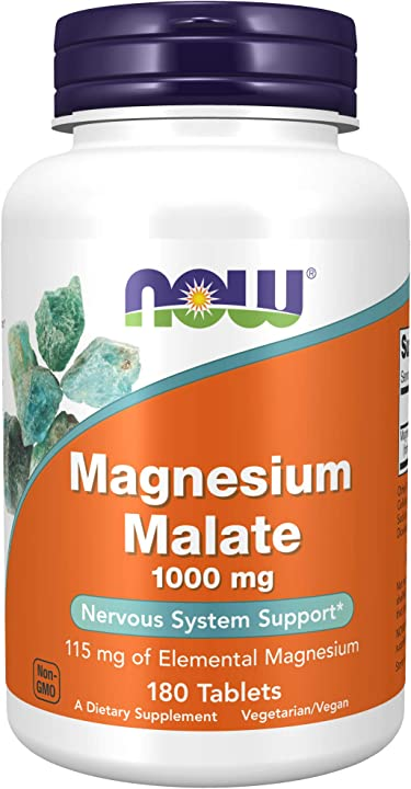 Il magnesio malate 1000 mg - 180 compresse - now foods, alimenti 1300