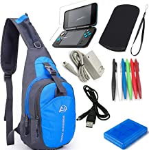 YB-OSANA 7 in 1 Backpack Crossbody Bag + New 2DS XL Wall Charger+ New 2DS XL Protective Bag+ Game Card Holder Case+New 2DS...