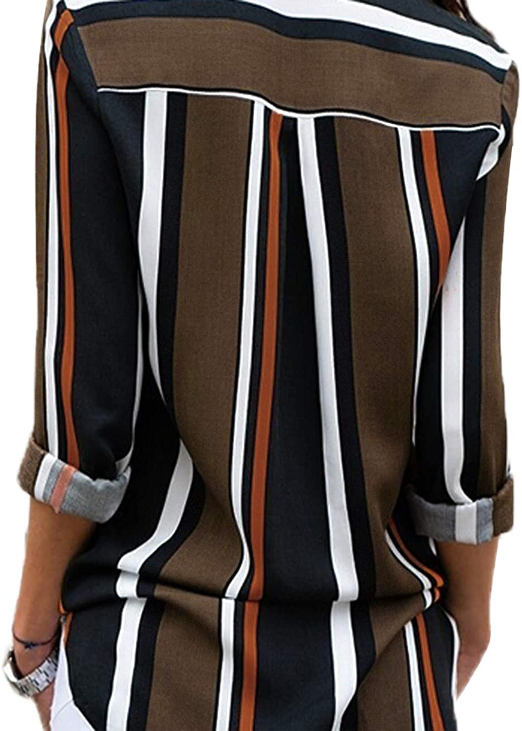 Astylish Womens V Neck Striped Roll up Sleeve Button Down Blouses Top