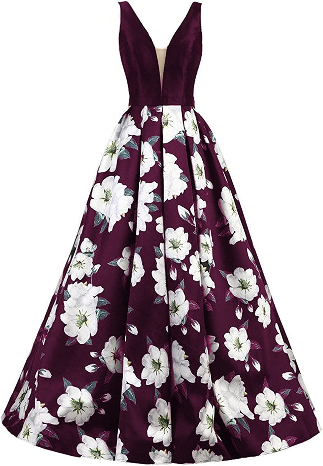 YSMei Womens Long V Neck Floral Printed Evening Prom Dress with Pockets Party Gown 43