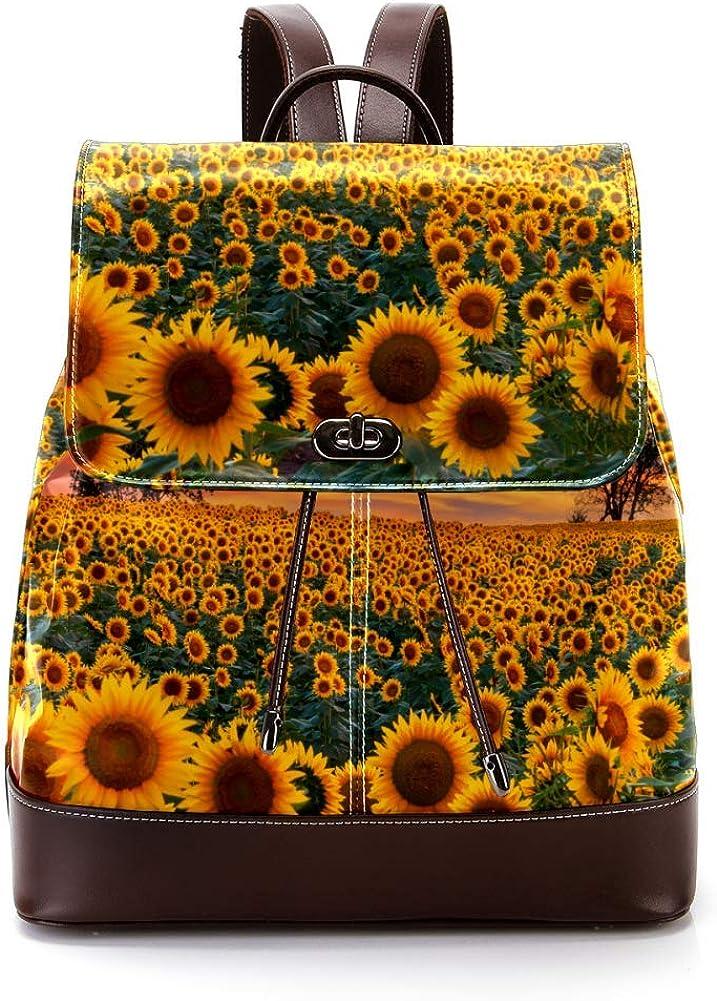 Sunflower In Sunset PU Leather Backpack Fashion Shoulder Bag Rucksack Travel Bag for Women Girls