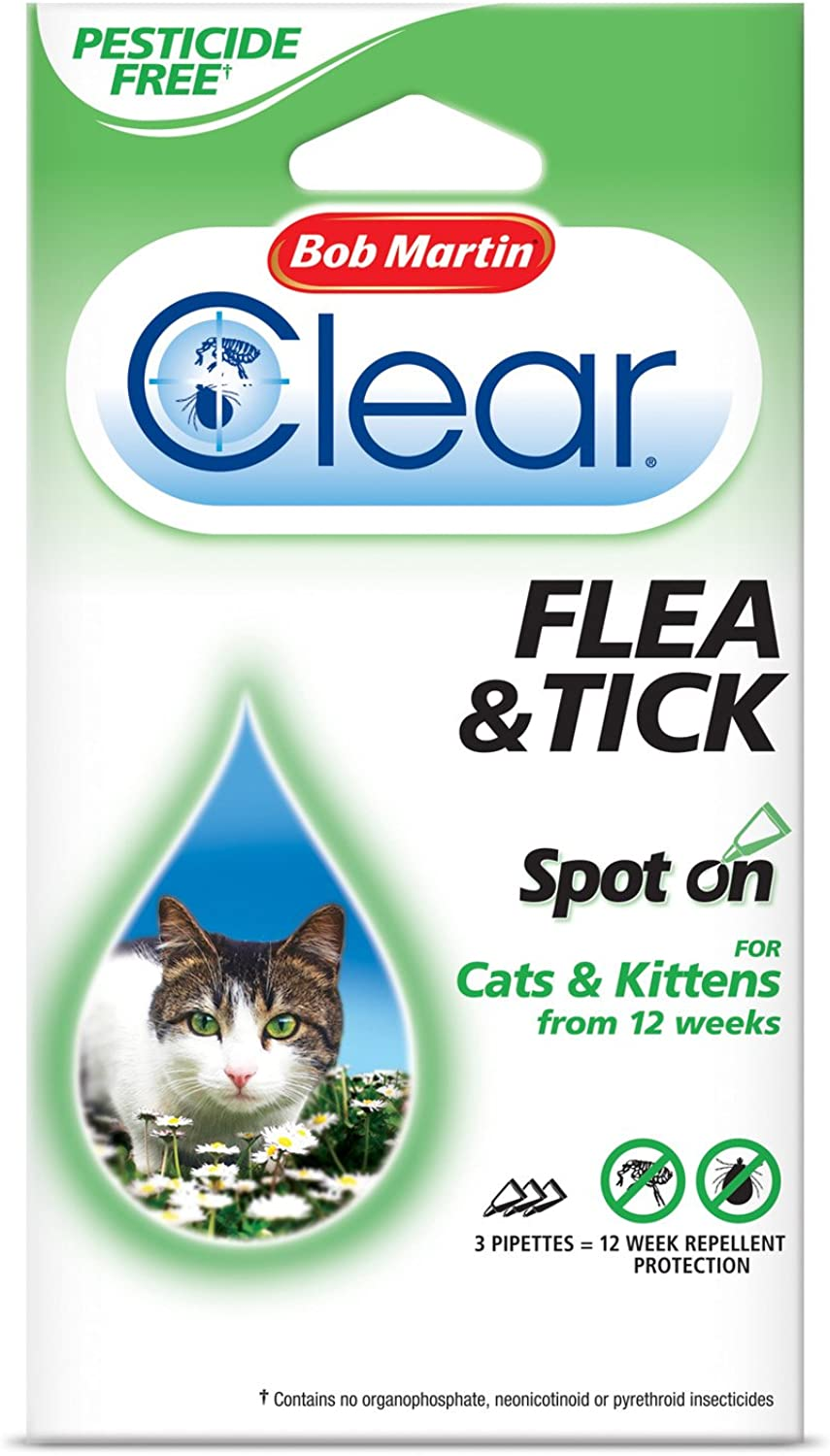 Bob Martin Clear Cat Spot On 12 Weeks Peticide Free (Pack of 10)