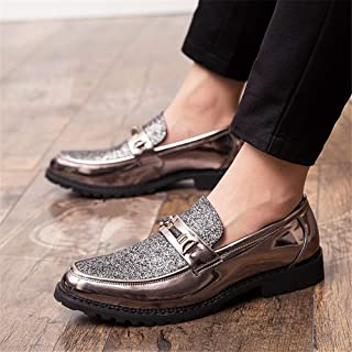 Oxford Shoes Durable Fashion Fashion Oxford for Men Formal Shoes Slip On Style Casual Personality Stitching Sequined Upper Metal Decoration Pointed Toe Durable Fashion