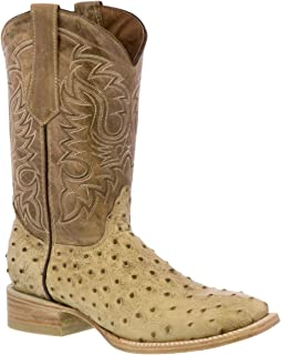 Team West - Men's Sand Ostrich Quill Print Leather Cowboy Boots