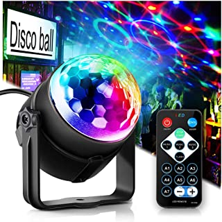 Party Lights Disco Ball Disco Lights, TONGK 7 Colors Dj LightingLed Strobe Light Sound Activated StageLightsEffect Dj Equipment With Remote Control with Kids Festival Birthday Xmas Wedding Bar Club