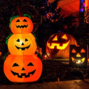 Halloween 4ft Inflatables Pumpkins Decorations - Halloween Decorations Blow Up Pumpkin Stacked, Outdoor Halloween Decorations, Halloween LED Lights Pumpkin Decorations for Yard, Front Porch, Lawn