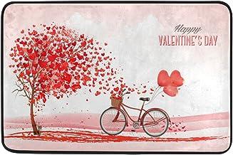 JSTEL Nonslip Door Mat Home Decor, Happy Valentines Heart Tree Durable Indoor Outdoor Entrance Doormat 23.6 X 15.7 Inches