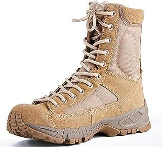 SHOULIEER Hommes Combat Bottes Tactiques randonnée en Plein air désert en Cuir Bottines Militaires Hommes Chaussures de Co...