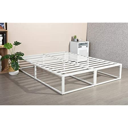 HOMYCASA Cadre de lit double en métal solide de 1,2 m avec grand espace de rangement pour adultes et enfants, taille 190 x 135 x 30 cm