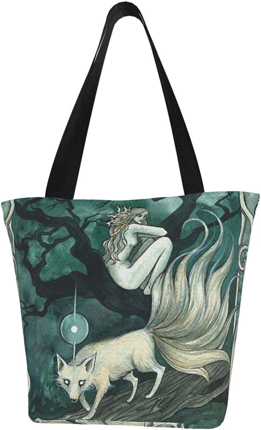 Wicca Wiccan Fox Folklore Themed Printed Women Canvas Handbag Zipper Shoulder Bag Work Booksbag Tote Purse Leisure Hobo Bag For Shopping
