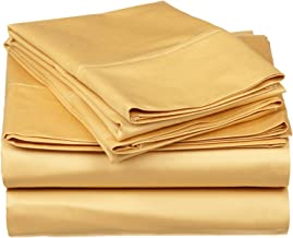 530 Thread Count, 100% Premium Combed Cotton, Single Ply, Full 4-Piece Sheet Set, Solid, Gold