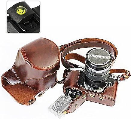 First2savvv XJD-EM5II-HH10 brun fonc/é Qualit/é sup/érieure PU cuir /étui housse appareil photo num/érique pour Olympus OM-D E-M5 Mark II Niveau /à bulle EM5 Mark 2 avec 12-40mm and 40-150mm Lens